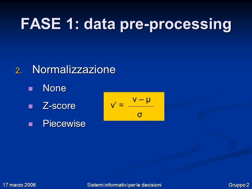 Gruppo 2 17 marzo 2006 Sistemi informativi per le decisioni FASE 1: data pre-processing 2.