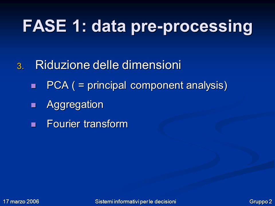 Gruppo 2 17 marzo 2006 Sistemi informativi per le decisioni FASE 1: data pre-processing 3.