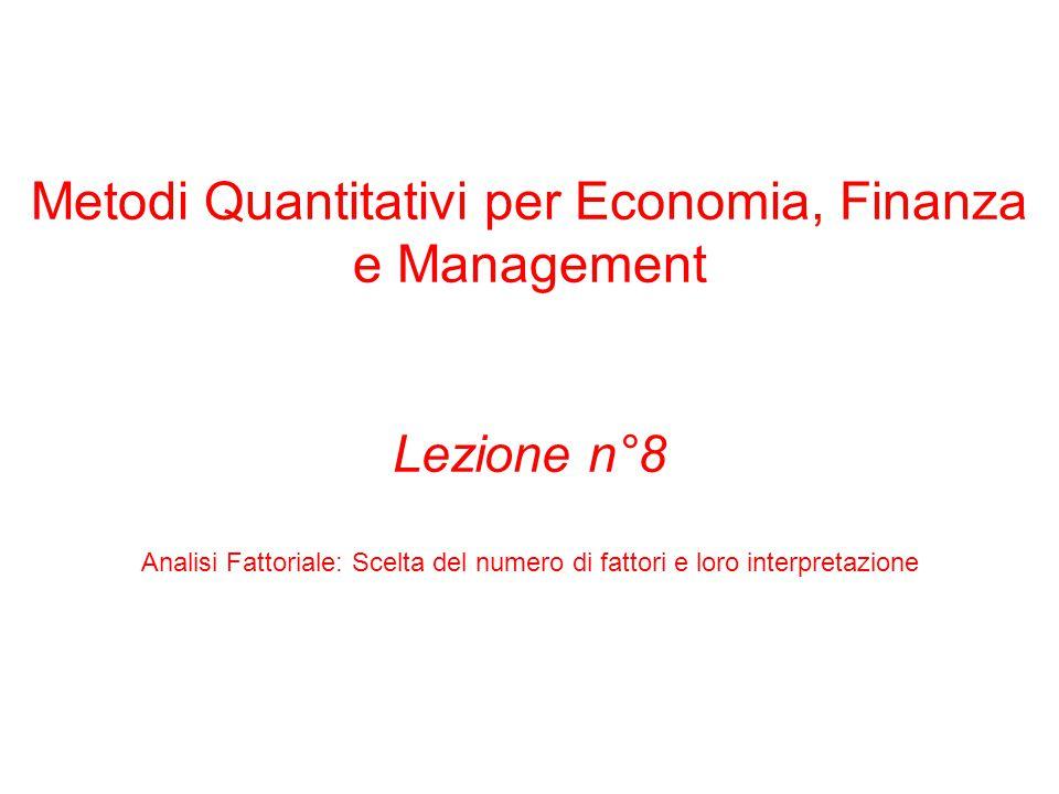 Metodi Quantitativi per Economia, Finanza e Management Lezione n°8 Analisi Fattoriale: Scelta del numero di fattori e loro interpretazione