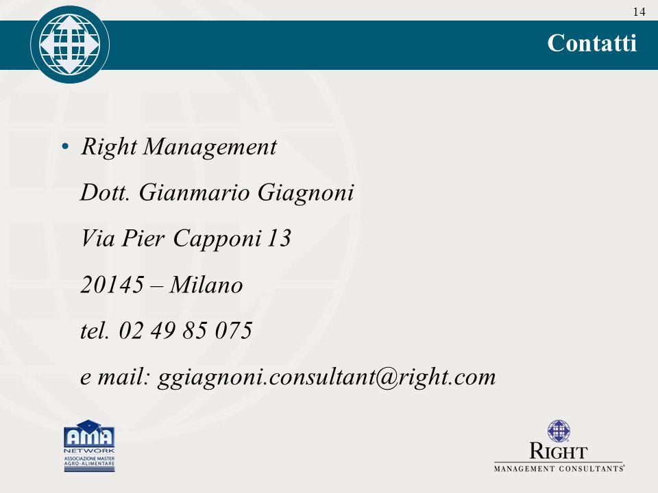 14 Contatti Right Management Dott. Gianmario Giagnoni Via Pier Capponi 13 20145 – Milano tel.
