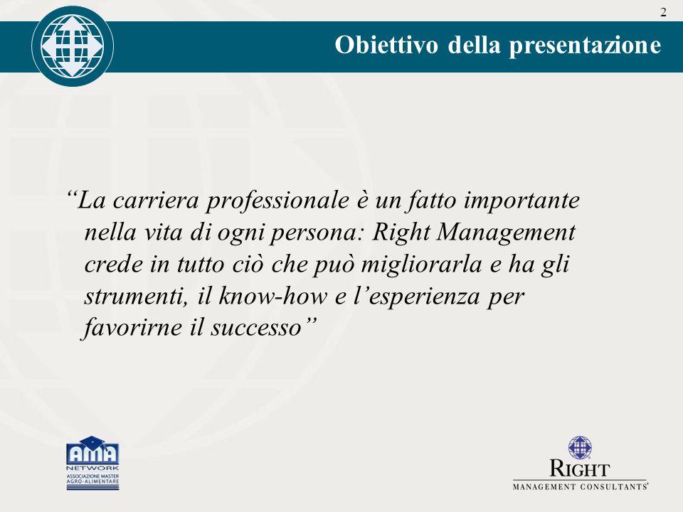 2 Obiettivo della presentazione La carriera professionale è un fatto importante nella vita di ogni persona: Right Management crede in tutto ciò che può migliorarla e ha gli strumenti, il know-how e l'esperienza per favorirne il successo
