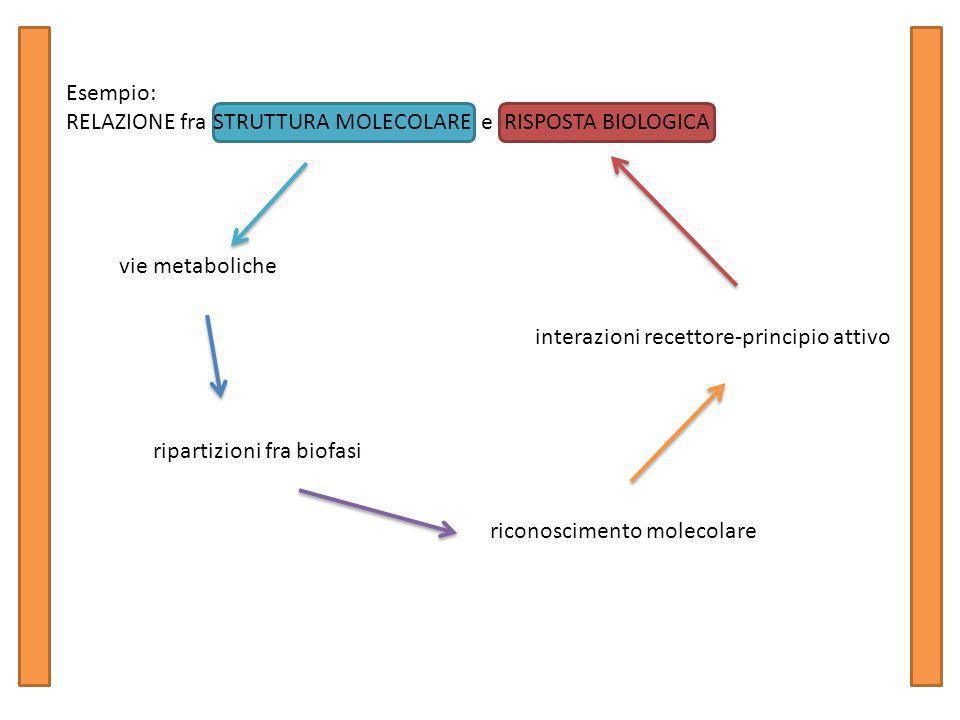 Esempio: RELAZIONE fra STRUTTURA MOLECOLARE e RISPOSTA BIOLOGICA vie metaboliche ripartizioni fra biofasi riconoscimento molecolare interazioni recettore-principio attivo