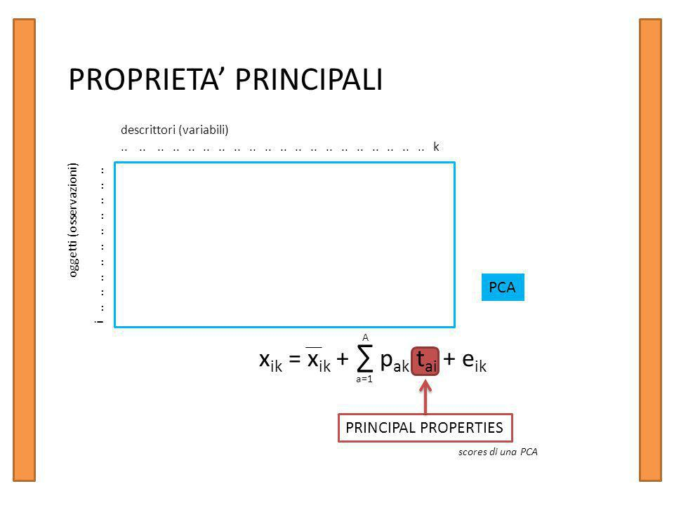 PROPRIETA' PRINCIPALI descrittori (variabili)........................................