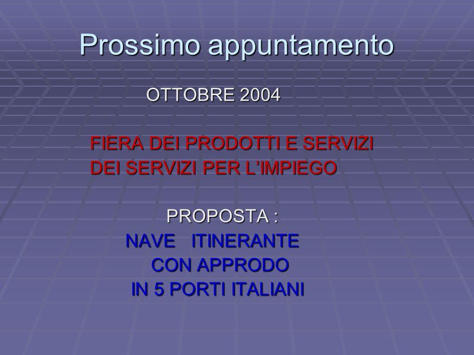 Prossimo appuntamento OTTOBRE 2004 OTTOBRE 2004 FIERA DEI PRODOTTI E SERVIZI FIERA DEI PRODOTTI E SERVIZI DEI SERVIZI PER L'IMPIEGO DEI SERVIZI PER L'