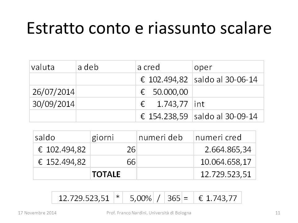 Estratto conto e riassunto scalare 17 Novembre 2014Prof. Franco Nardini, Università di Bologna11