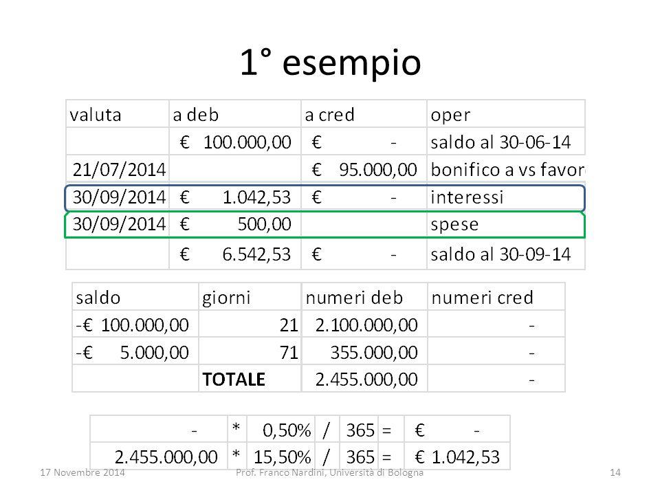 1° esempio 17 Novembre 2014Prof. Franco Nardini, Università di Bologna14