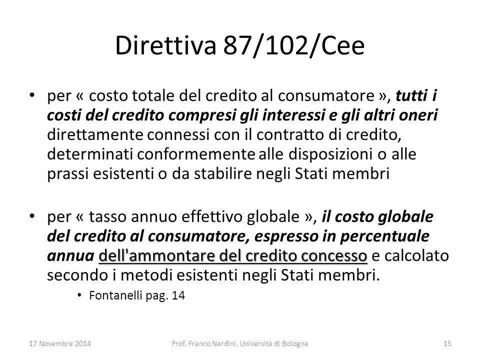 Direttiva 87/102/Cee per « costo totale del credito al consumatore », tutti i costi del credito compresi gli interessi e gli altri oneri direttamente