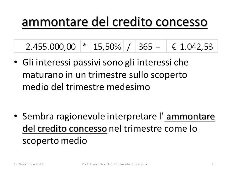 ammontare del credito concesso Gli interessi passivi sono gli interessi che maturano in un trimestre sullo scoperto medio del trimestre medesimo ammon