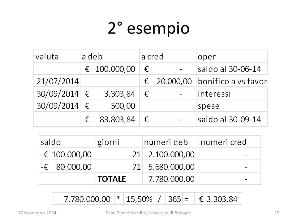 2° esempio 17 Novembre 2014Prof. Franco Nardini, Università di Bologna19