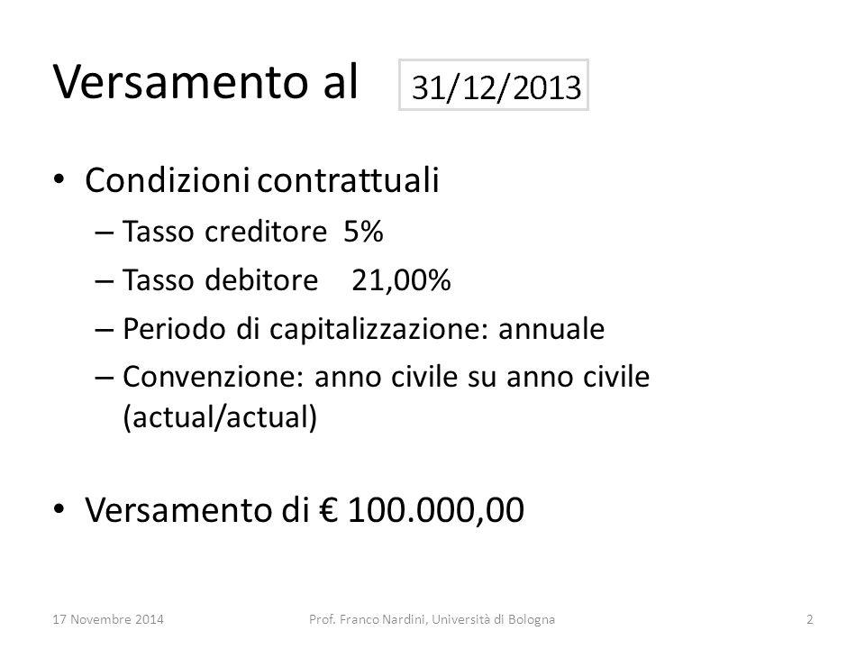 Versamento al Condizioni contrattuali – Tasso creditore 5% – Tasso debitore 21,00% – Periodo di capitalizzazione: annuale – Convenzione: anno civile s