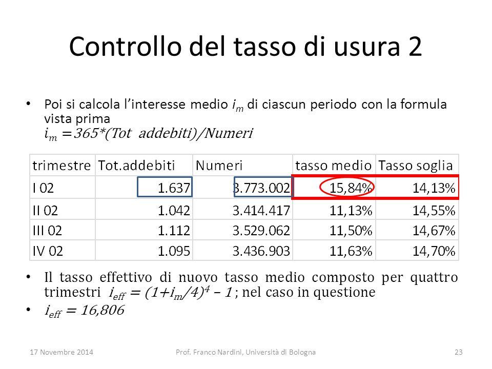 Controllo del tasso di usura 2 17 Novembre 2014Prof. Franco Nardini, Università di Bologna23