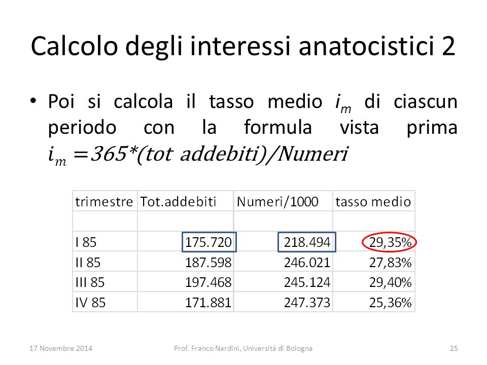 Calcolo degli interessi anatocistici 2 17 Novembre 2014Prof. Franco Nardini, Università di Bologna25