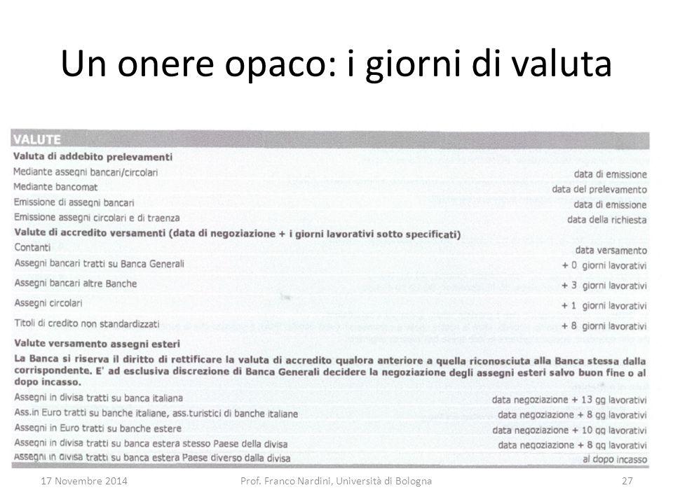 Un onere opaco: i giorni di valuta 17 Novembre 2014Prof. Franco Nardini, Università di Bologna27