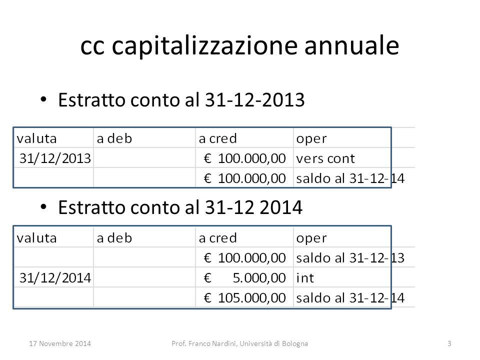 cc capitalizzazione annuale Estratto conto al 31-12-2013 Estratto conto al 31-12 2014 17 Novembre 2014Prof. Franco Nardini, Università di Bologna3