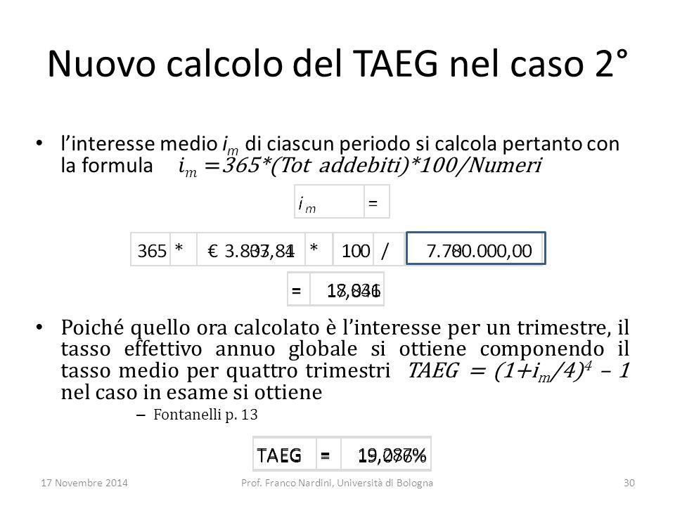 Nuovo calcolo del TAEG nel caso 2° 17 Novembre 2014Prof. Franco Nardini, Università di Bologna30