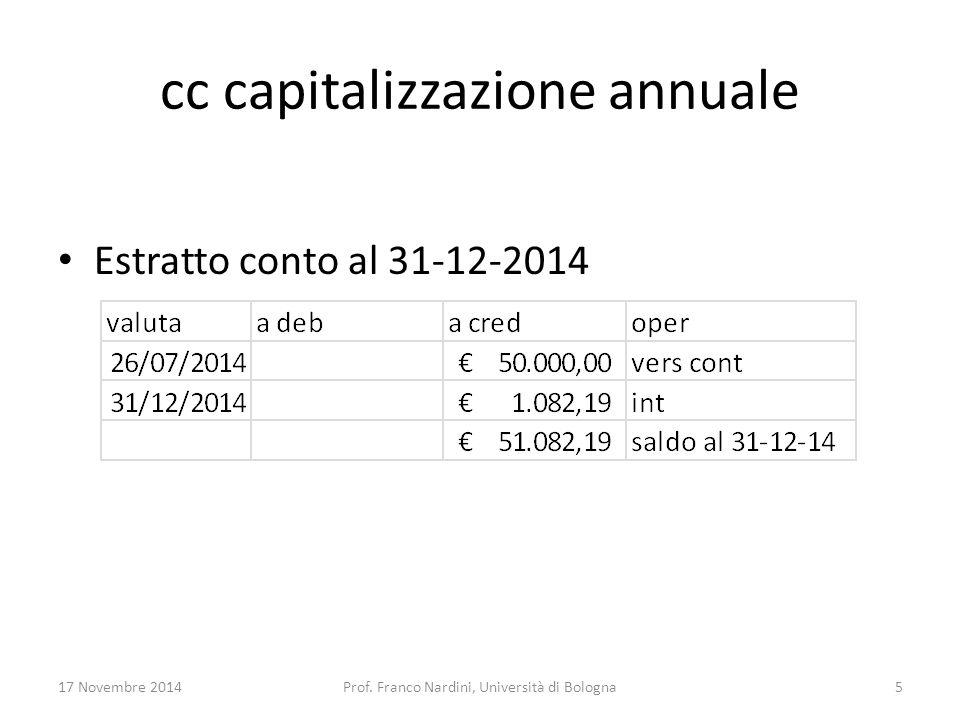 cc capitalizzazione annuale Estratto conto al 31-12-2014 17 Novembre 2014Prof. Franco Nardini, Università di Bologna5