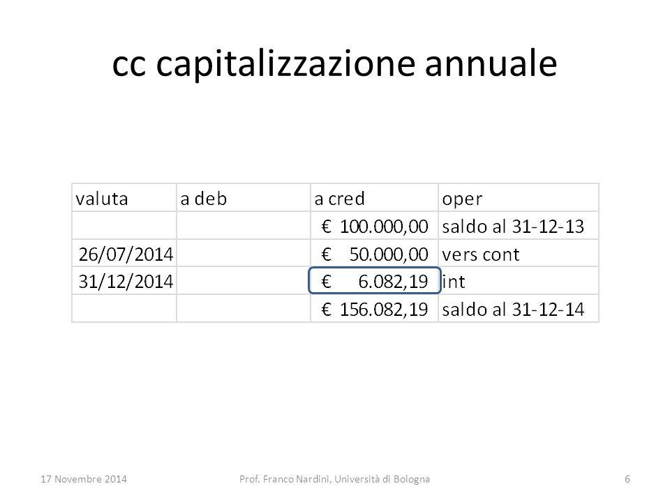 cc capitalizzazione annuale 17 Novembre 2014Prof. Franco Nardini, Università di Bologna6