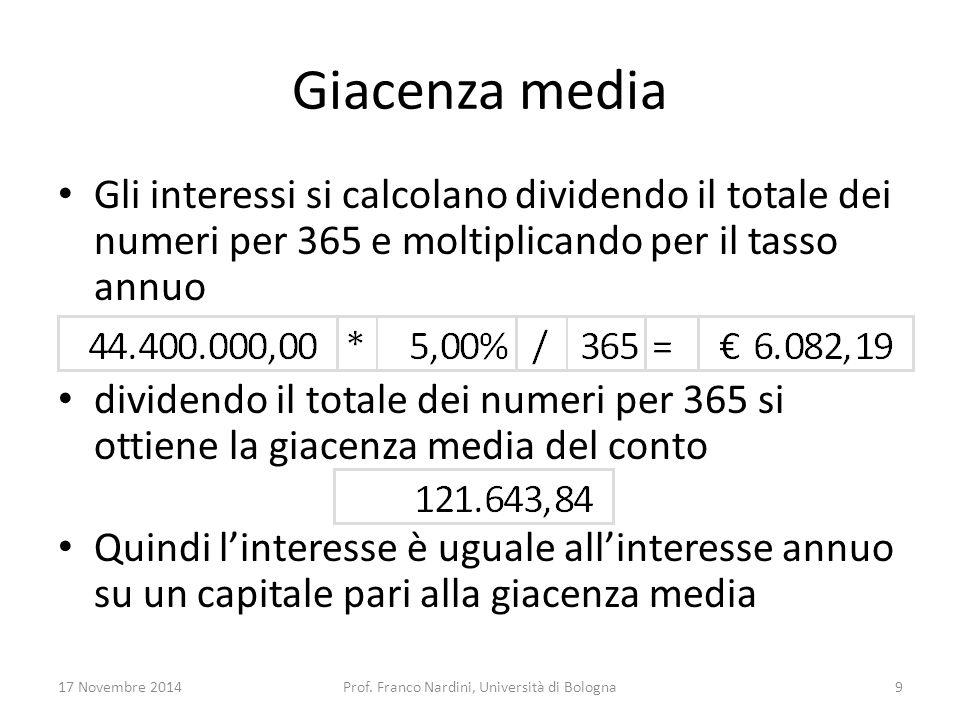 Giacenza media Gli interessi si calcolano dividendo il totale dei numeri per 365 e moltiplicando per il tasso annuo dividendo il totale dei numeri per