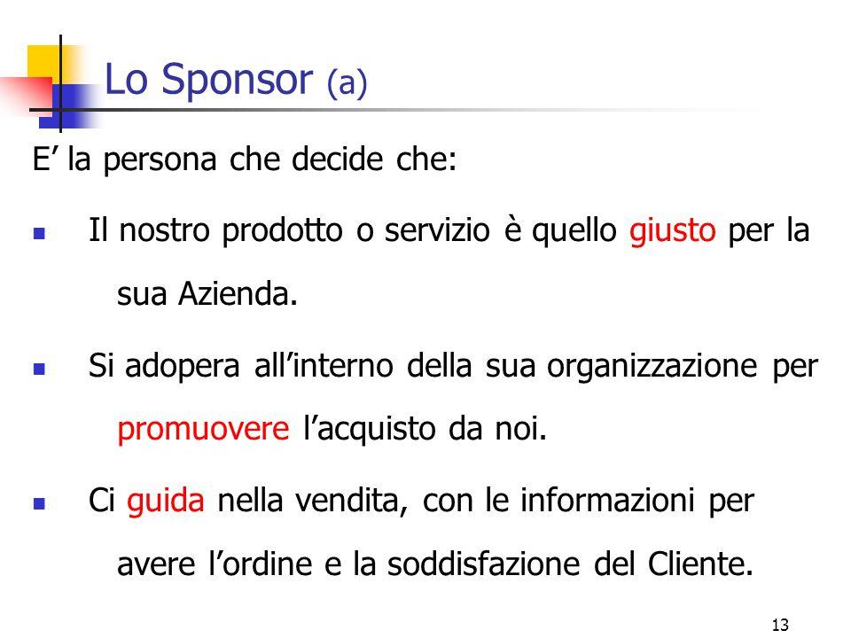 13 Lo Sponsor (a) E' la persona che decide che: Il nostro prodotto o servizio è quello giusto per la sua Azienda. Si adopera all'interno della sua org