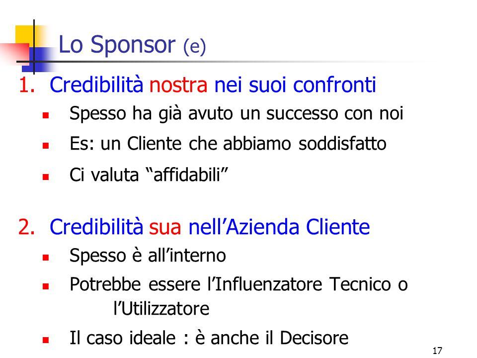 """17 Lo Sponsor (e) 1.Credibilità nostra nei suoi confronti Spesso ha già avuto un successo con noi Es: un Cliente che abbiamo soddisfatto Ci valuta """"af"""