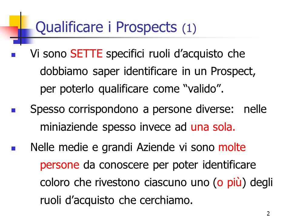 """2 Qualificare i Prospects (1) Vi sono SETTE specifici ruoli d'acquisto che dobbiamo saper identificare in un Prospect, per poterlo qualificare come """"v"""