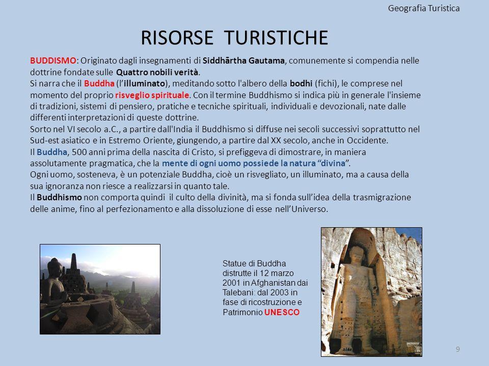 RISORSE TURISTICHE Geografia Turistica BUDDISMO: Originato dagli insegnamenti di Siddhārtha Gautama, comunemente si compendia nelle dottrine fondate s