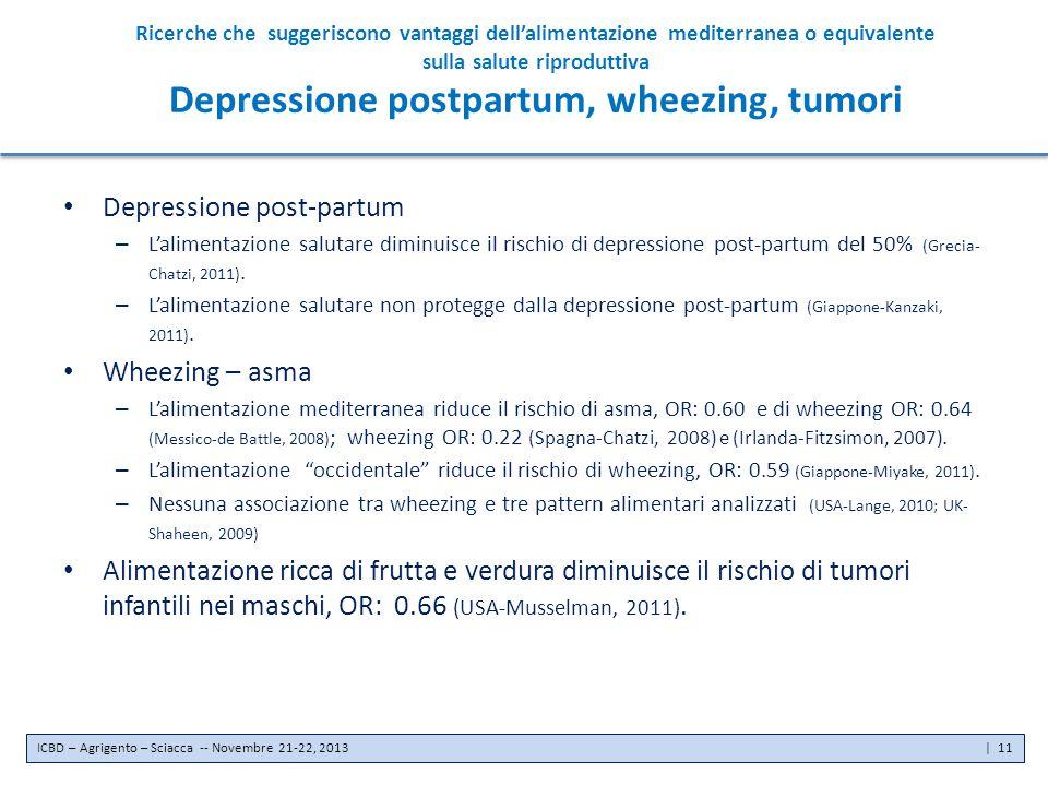 Ricerche che suggeriscono vantaggi dell'alimentazione mediterranea o equivalente sulla salute riproduttiva Depressione postpartum, wheezing, tumori De