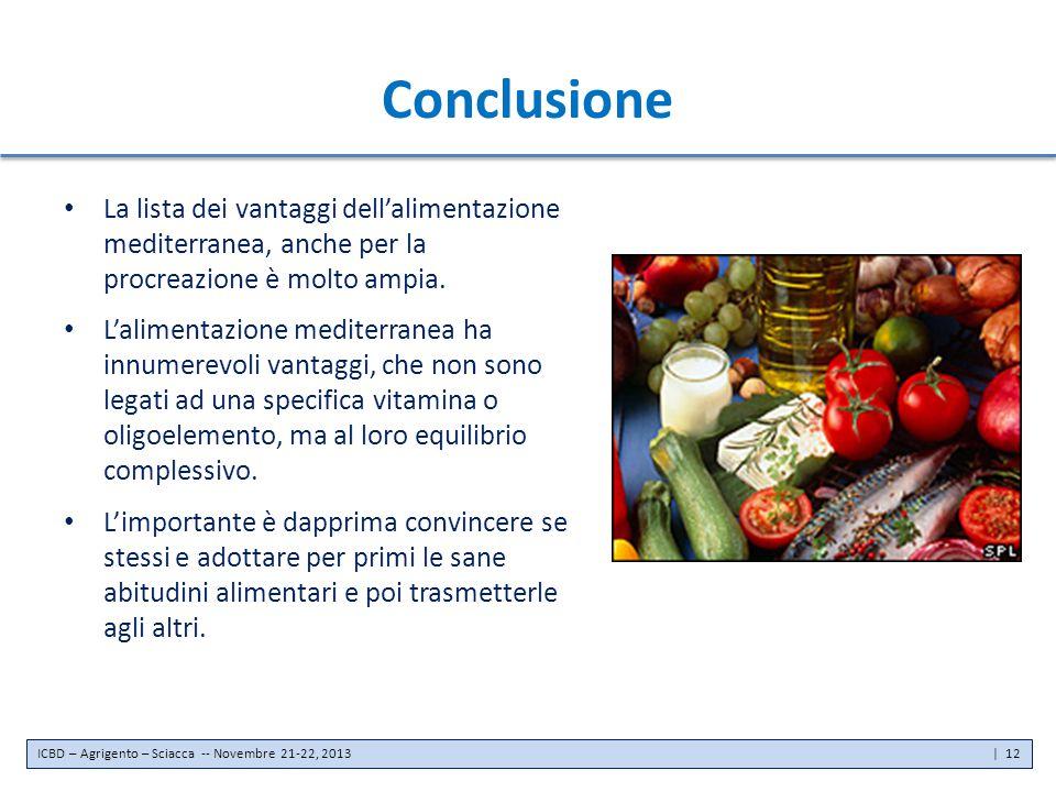 Conclusione La lista dei vantaggi dell'alimentazione mediterranea, anche per la procreazione è molto ampia. L'alimentazione mediterranea ha innumerevo