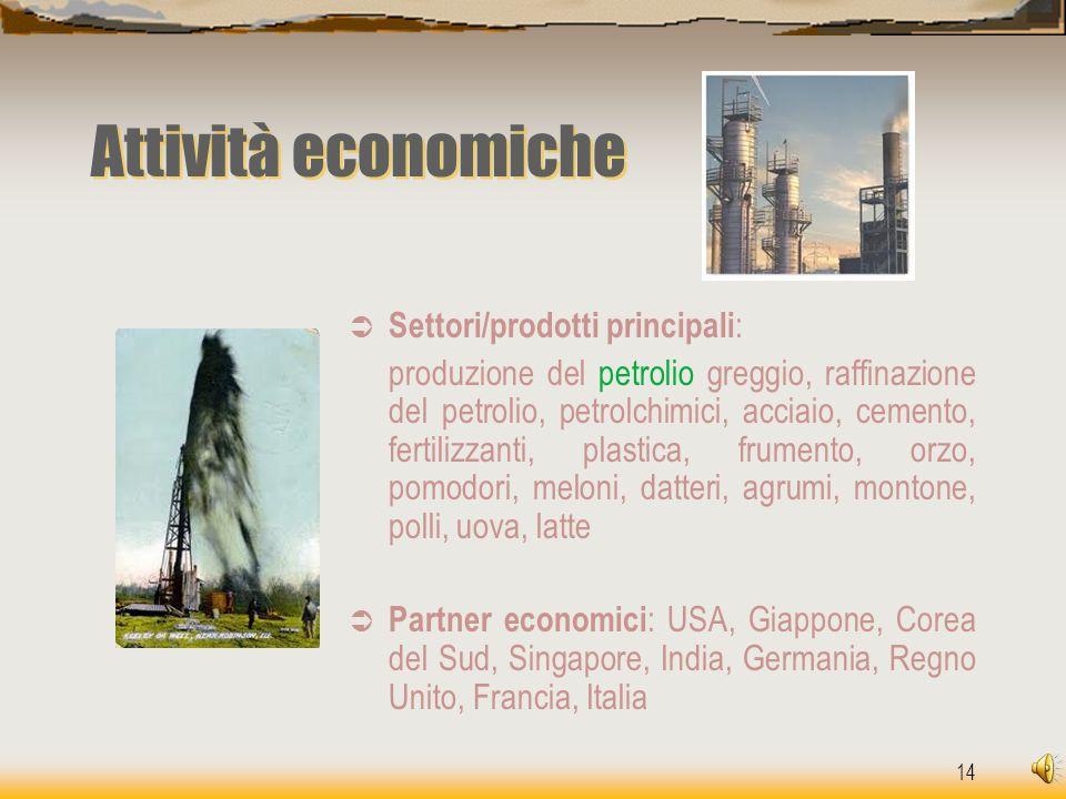 14 Attività economiche  Settori/prodotti principali : produzione del petrolio greggio, raffinazione del petrolio, petrolchimici, acciaio, cemento, fe