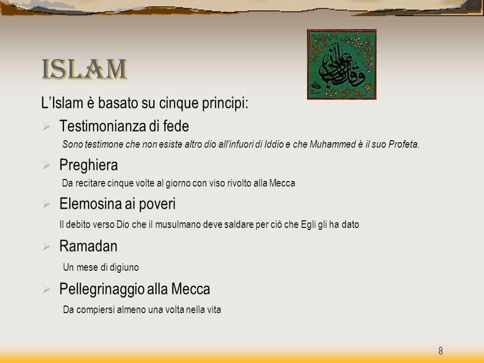 Islam Islam L'Islam è basato su cinque principi:  Testimonianza di fede Sono testimone che non esiste altro dio all'infuori di Iddio e che Muhammed è