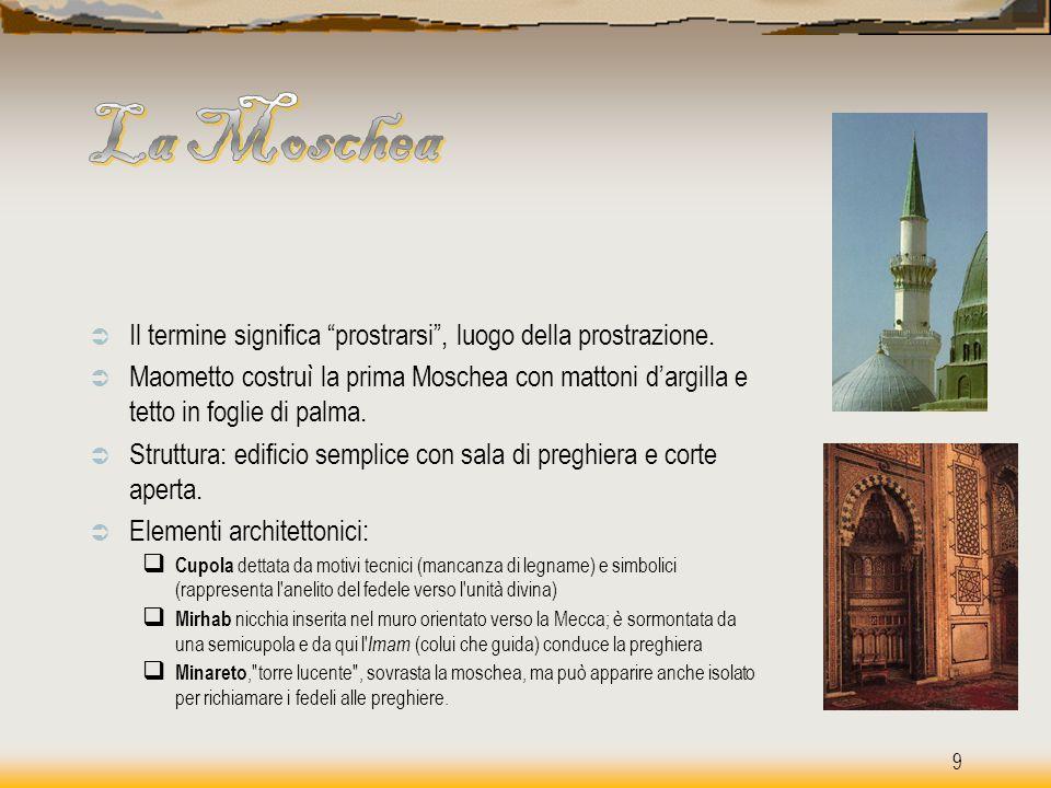 """ Il termine significa """"prostrarsi"""", luogo della prostrazione.  Maometto costruì la prima Moschea con mattoni d'argilla e tetto in foglie di palma. """