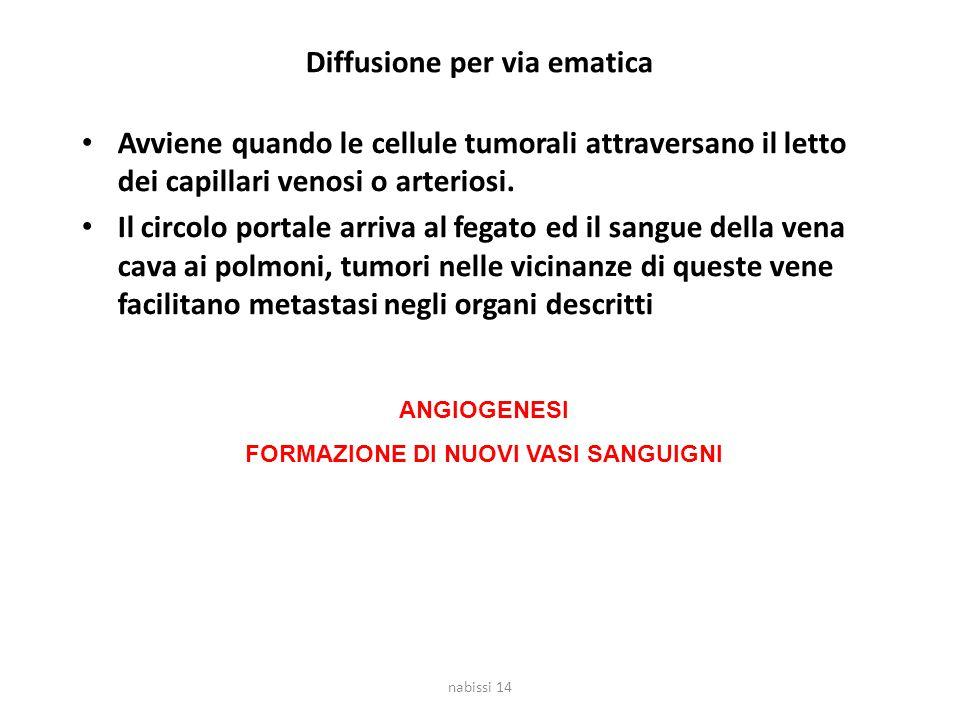 Diffusione per via ematica Avviene quando le cellule tumorali attraversano il letto dei capillari venosi o arteriosi. Il circolo portale arriva al feg
