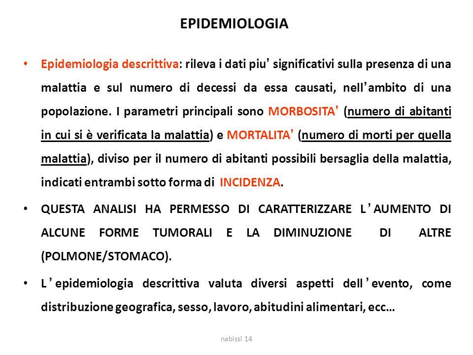 EPIDEMIOLOGIA Epidemiologia descrittiva: rileva i dati piu' significativi sulla presenza di una malattia e sul numero di decessi da essa causati, nell
