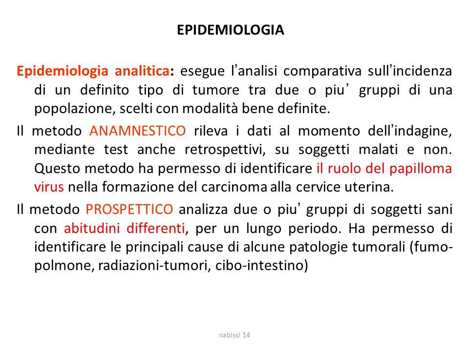 EPIDEMIOLOGIA Epidemiologia analitica: esegue l'analisi comparativa sull'incidenza di un definito tipo di tumore tra due o piu' gruppi di una popolazi