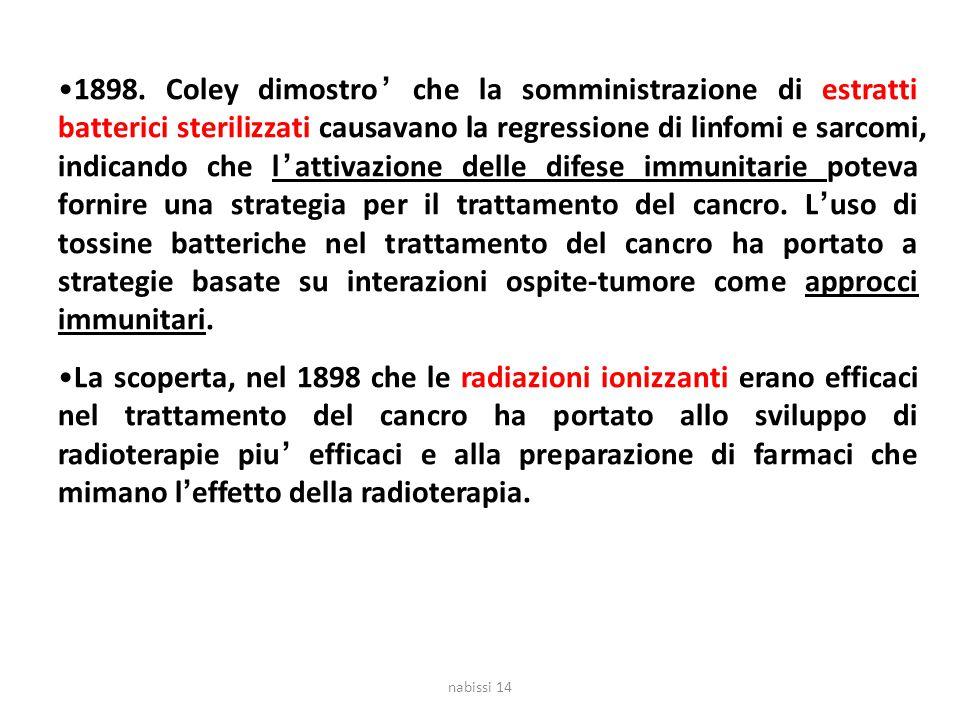 1898. Coley dimostro' che la somministrazione di estratti batterici sterilizzati causavano la regressione di linfomi e sarcomi, indicando che l'attiva