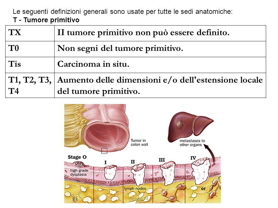 Le seguenti definizioni generali sono usate per tutte le sedi anatomiche: T - Tumore primitivo TXII tumore primitivo non può essere definito. T0Non se