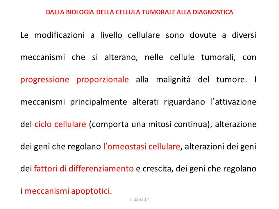 Le modificazioni a livello cellulare sono dovute a diversi meccanismi che si alterano, nelle cellule tumorali, con progressione proporzionale alla mal