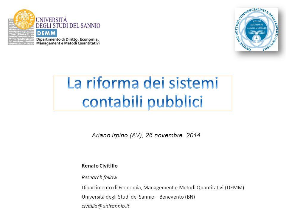 Renato Civitillo Research fellow Dipartimento di Economia, Management e Metodi Quantitativi (DEMM) Università degli Studi del Sannio – Benevento (BN)