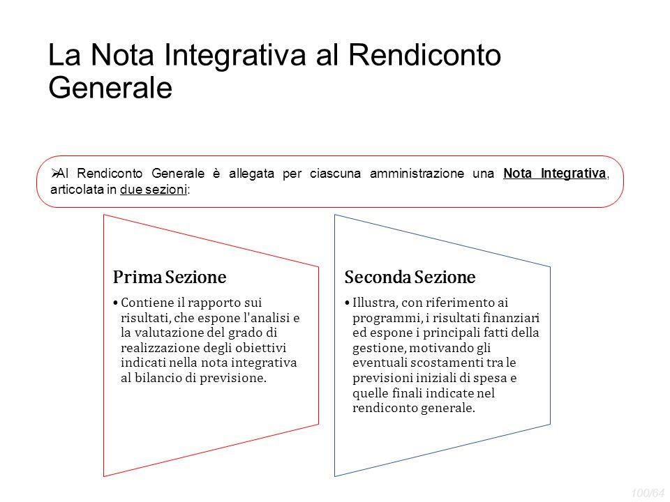 La Nota Integrativa al Rendiconto Generale  Al Rendiconto Generale è allegata per ciascuna amministrazione una Nota Integrativa, articolata in due se