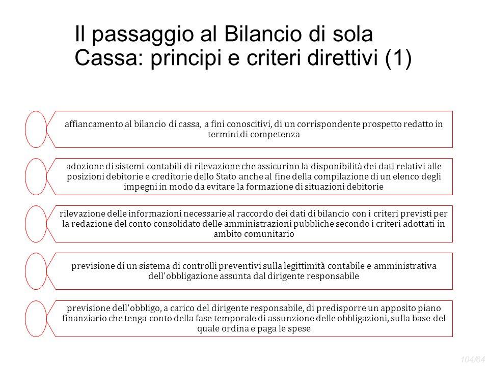 Il passaggio al Bilancio di sola Cassa: principi e criteri direttivi (1) affiancamento al bilancio di cassa, a fini conoscitivi, di un corrispondente