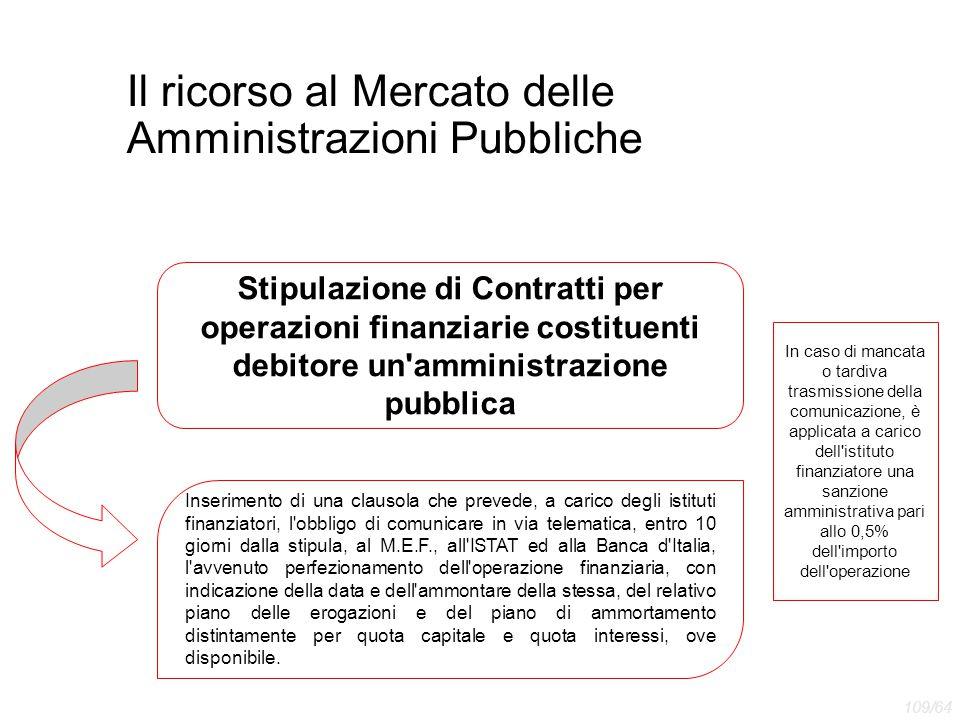 Il ricorso al Mercato delle Amministrazioni Pubbliche Inserimento di una clausola che prevede, a carico degli istituti finanziatori, l'obbligo di comu