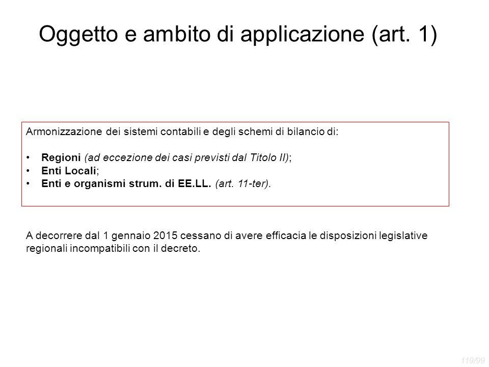 Oggetto e ambito di applicazione (art. 1) Armonizzazione dei sistemi contabili e degli schemi di bilancio di: Regioni (ad eccezione dei casi previsti