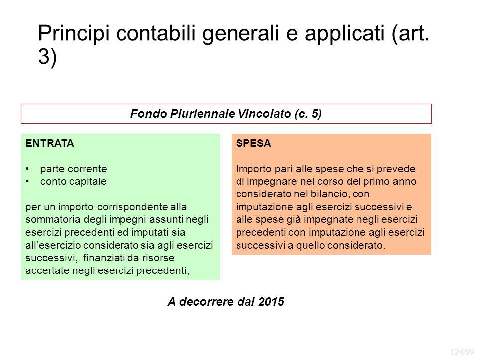 Principi contabili generali e applicati (art. 3) Fondo Pluriennale Vincolato (c. 5) ENTRATA parte corrente conto capitale per un importo corrispondent