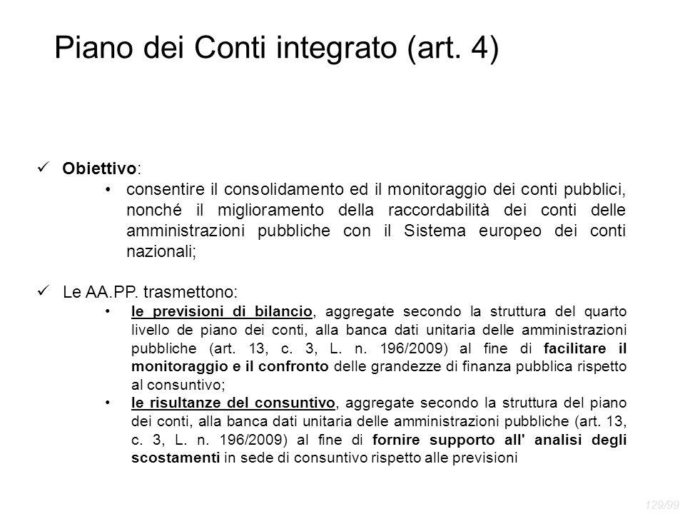 Piano dei Conti integrato (art. 4) Obiettivo: consentire il consolidamento ed il monitoraggio dei conti pubblici, nonché il miglioramento della raccor
