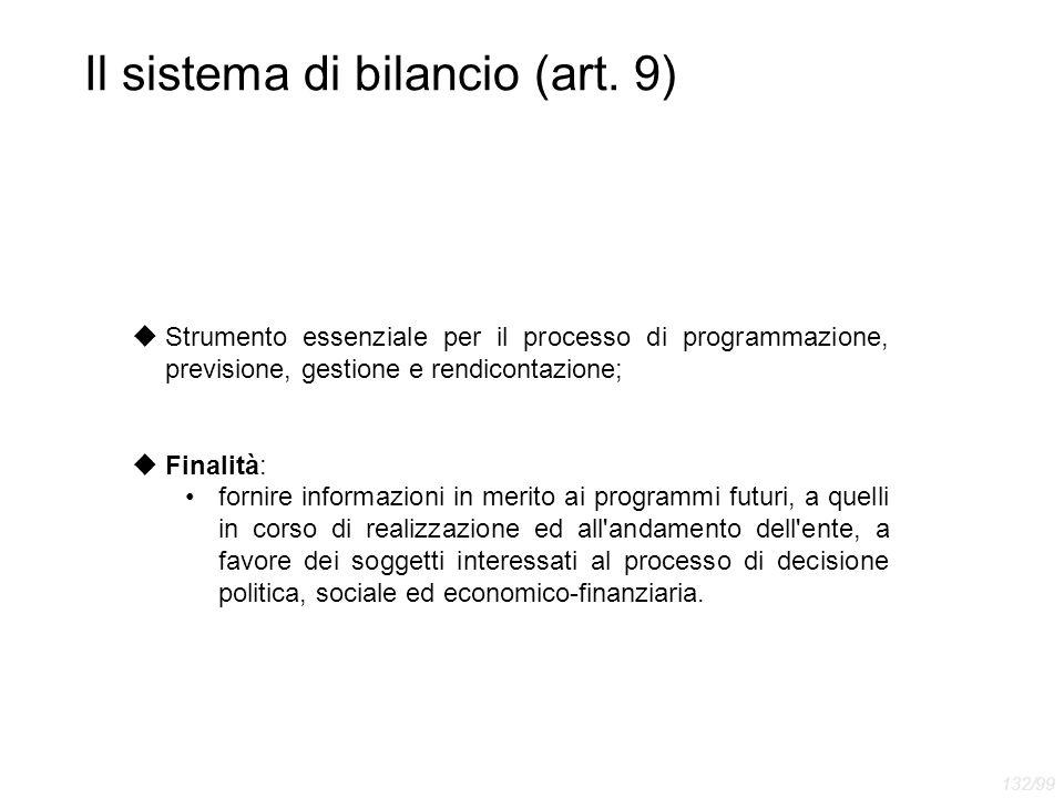 Il sistema di bilancio (art. 9)  Strumento essenziale per il processo di programmazione, previsione, gestione e rendicontazione;  Finalità: fornire