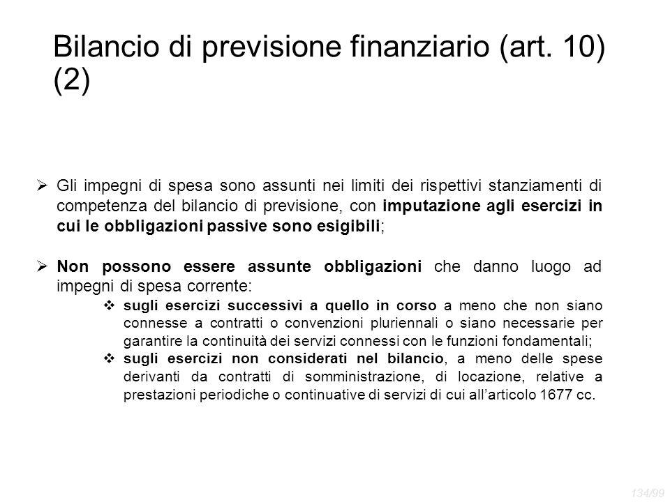 Bilancio di previsione finanziario (art. 10) (2)  Gli impegni di spesa sono assunti nei limiti dei rispettivi stanziamenti di competenza del bilancio