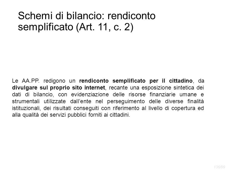 Schemi di bilancio: rendiconto semplificato (Art. 11, c. 2) Le AA.PP. redigono un rendiconto semplificato per il cittadino, da divulgare sul proprio s
