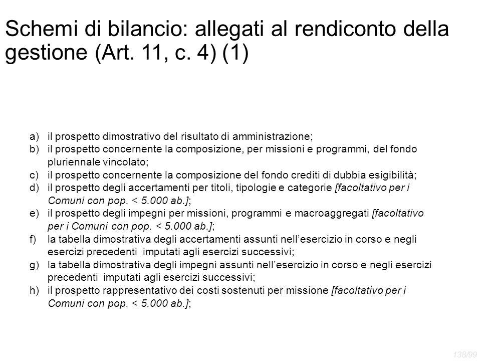 Schemi di bilancio: allegati al rendiconto della gestione (Art. 11, c. 4) (1) a)il prospetto dimostrativo del risultato di amministrazione; b)il prosp