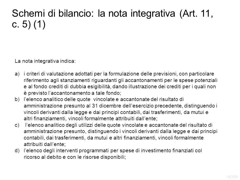 Schemi di bilancio: la nota integrativa (Art. 11, c. 5) (1) La nota integrativa indica: a)i criteri di valutazione adottati per la formulazione delle