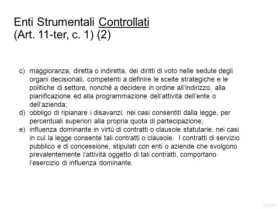 Enti Strumentali Controllati (Art. 11-ter, c. 1) (2) c)maggioranza, diretta o indiretta, dei diritti di voto nelle sedute degli organi decisionali, co